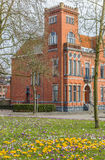 Red brick building and crocusses in Groningen Royalty Free Stock Image
