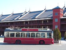 Red Brick Building and Red Shoe Bus in Yokohama stock images