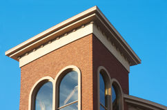 Red brick building top on blue sky stair case Royalty Free Stock Photography
