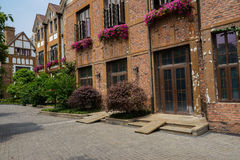 Red brick buildings on sunny spring day Royalty Free Stock Photography