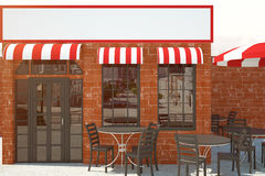 Red brick cafe with empty billboard Royalty Free Stock Photography