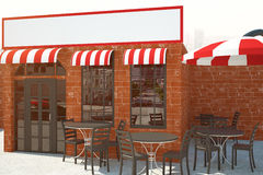 Red brick cafe with empty poster Stock Image