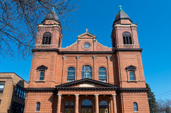 Red Brick Church Front in Saint Paul Stock Image