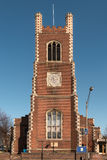 Red Brick Church. Front View of a Cathedral in Cambridge stock photos