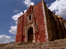 Red brick church in Mexico Stock Image