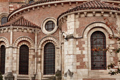 Red brick church structure. Outside the ancient church ,in Toulouse Stock Image