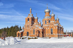 Red brick church in village Darna, Russia Stock Photography