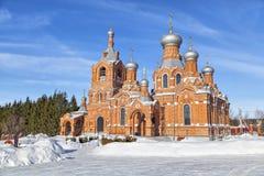 Red brick church in village Darna, Russia Stock Photography
