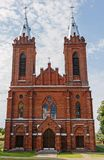 Red Brick Church With Two Towers In Lithuania Royalty Free Stock Photo