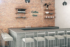 Red brick coffee bar Royalty Free Stock Photo