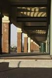 Red Brick Columns. Columns in a shopping mall along a walking path Stock Photos