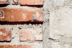 Red brick with concrete background. Red old brick with concrete background Royalty Free Stock Photos