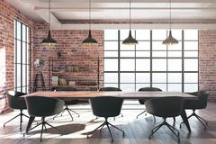 Red brick conference room. Modern red brick conference room interior with equipment and sunlight. 3D Rendering Royalty Free Stock Photography