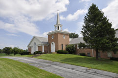 Red brick country church royalty free stock photo