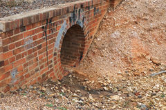 Red brick culvert drain structure Royalty Free Stock Photos