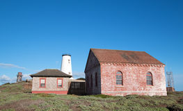 Red Brick Fog Signal Building at the Piedras Blancas Lighthouse on the Central California Coast Royalty Free Stock Photography