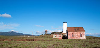 Red Brick Fog Signal Building at the Piedras Blancas Lighthouse on the Central California Coast Royalty Free Stock Image