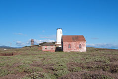 Red Brick Fog Signal Building at the Piedras Blancas Lighthouse on the Central California Coast Royalty Free Stock Photo
