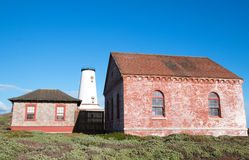 Red Brick Fog Signal Building at the Piedras Blancas Lighthouse on the Central California Coast Royalty Free Stock Photos