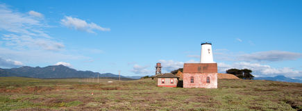 Red Brick Fog Signal Building at the Piedras Blancas Lighthouse on the Central California Coast Stock Image
