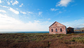 Red Brick Fog Signal Building at the Piedras Blancas Lighthouse on the Central California Coast Stock Photography
