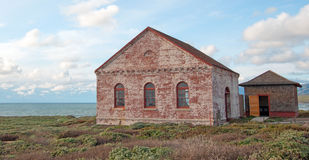 Red Brick Fog Signal Building at the Piedras Blancas Lighthouse on the Central California Coast Stock Photos