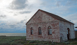 Red Brick Fog Signal Building at Piedras Blancas Lighthouse point on the Central Coast of California Stock Image