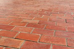 Red Brick Footpath Background. Outdoor Walking Street Stock Images