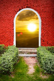 Red brick gate sunset on the mountain Royalty Free Stock Photos