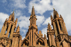 Red brick gothic cathedral Stock Photo