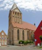Red brick gothic Saint Marie church Stock Photos
