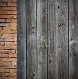 Red brick grunge wall and wooden wall Royalty Free Stock Photo
