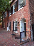 Red Brick Homes. Photo of red brick homes in georgetown of washington dc during summer.  Georgetown is known for its quaint architecture Stock Image