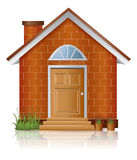 Red brick house architecture with chimney. Brick house architecture with chimney, create by vector Stock Photography