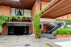 Red brick house with glass door and stairs with modern achitecture in Bangkok, Thailand September 30, 2017. The Red brick house with glass door and stairs with royalty free stock photo