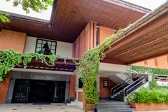 Red brick house with glass door and stairs with modern achitecture in Bangkok, Thailand September 30, 2017. The Red brick house with glass door and stairs with stock images