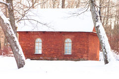 Red brick house in the winter Royalty Free Stock Images