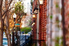 Red brick houses with lamp on the walls, Baltimore royalty free stock photo