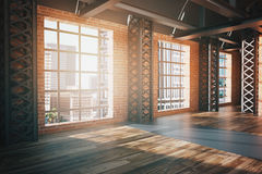 Red brick interior with city view side Royalty Free Stock Photo