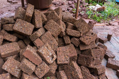 Red brick material for building brick wall to the industry Royalty Free Stock Photography