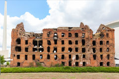 Red brick mill, ruined during the World War 2 Royalty Free Stock Photography