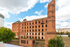 Red brick mill, ruined during the World War 2 Royalty Free Stock Image