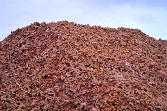 Red Brick Mountain with clipping path. A mountain of disused red bricks, during housing markert slump, with clipping path around bricks Royalty Free Stock Photography