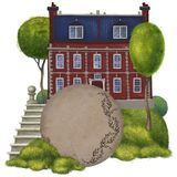 Red brick old mansion. Composition with a round frame. 18th century. Old building stock illustration
