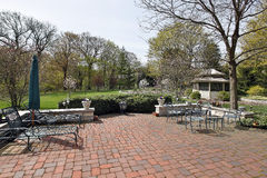 Red brick patio with gazebo Stock Photography