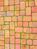 Red Brick Pattern on the Sidewalk Royalty Free Stock Image