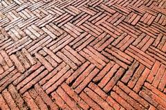 Red brick paving on a sidewalk at Ayutthaya.Thailand. Royalty Free Stock Images