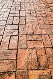Red brick paving on a sidewalk at Ayutthaya.Thailand. Stock Image
