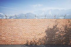 Red brick prison wall winter Stock Images