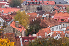 Red brick roofs of Vilnius in Lithuania in autumn Royalty Free Stock Photography